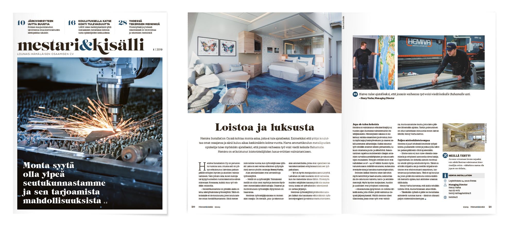Mestari & Kisälli -lehti 1/2019, Mainostoimisto MAK Media Oy, Forssa