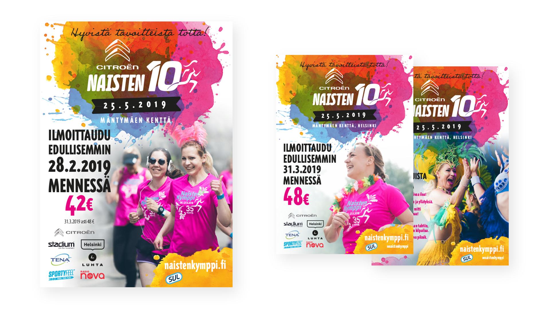 Naisten Kymppi / SUL, markkinointimateriaaleja, Mainostoimisto MAK Media Oy